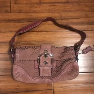Coach Soho Hobo Burgundy Signature Handbag 3628